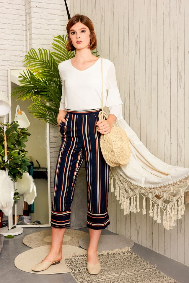 Lucca Striped Culottes in Navy