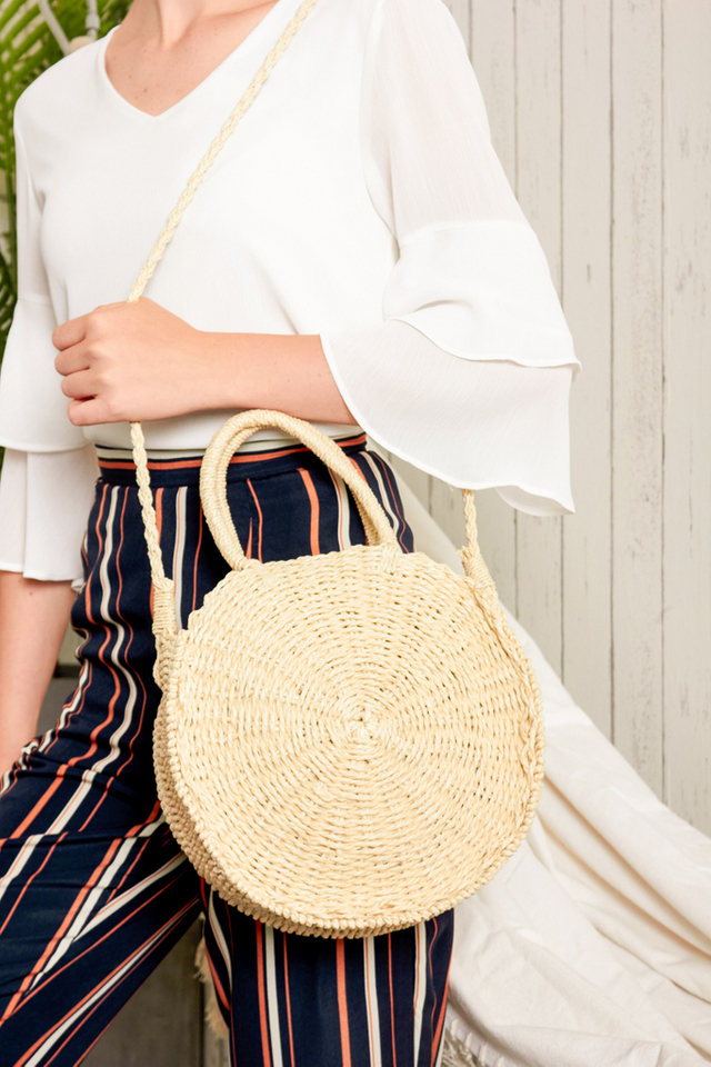 Cressa Round Straw Bag in Beige