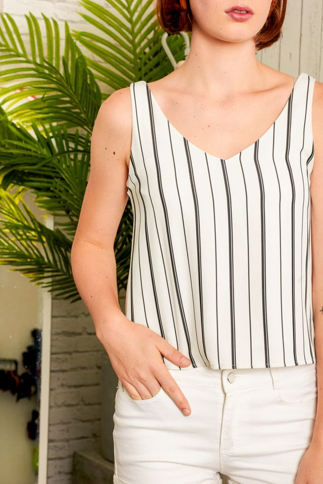 Apolline Striped Cropped Top in White (L)