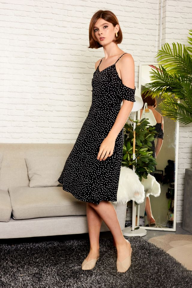 Etoile Polka Dot Cold Shoulder Dress in Black (XS)