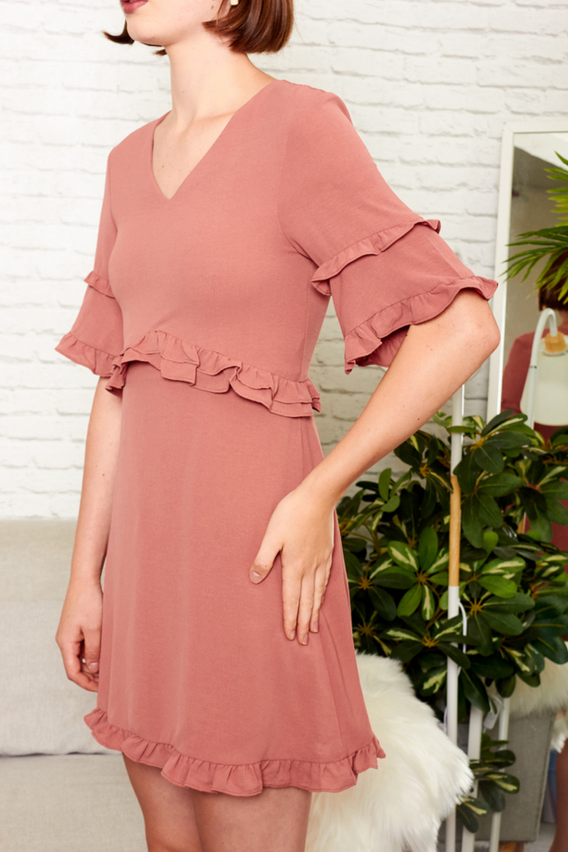 Sanne Layered Ruffles Dress in Dusty Salmon