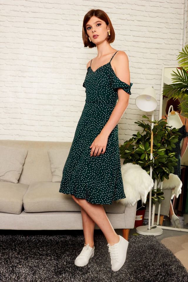 Etoile Polka Dot Cold Shoulder Dress in Forest