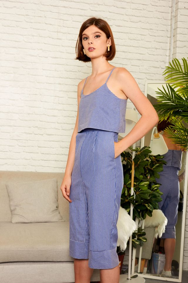 Deene Layered Striped Jumpsuit in Blue (L)