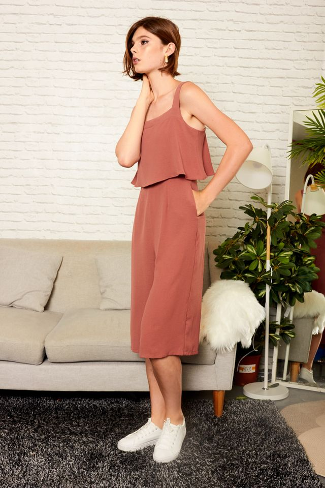 Zayn Square Neckline Culottes Jumpsuit in Dusty Salmon
