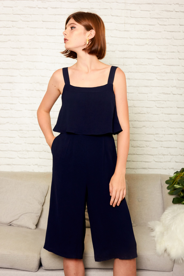 Zayn Square Neckline Culottes Jumpsuit in Navy