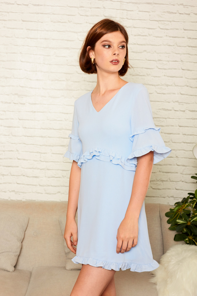 Sanne Layered Ruffles Dress in Powder Blue (M)