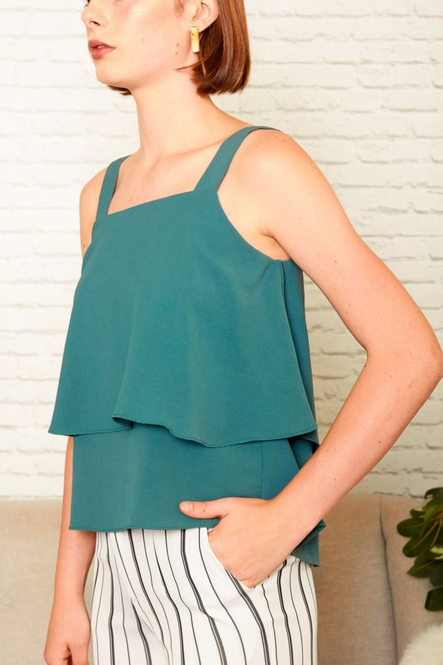 Cathal Layered Top in Emerald