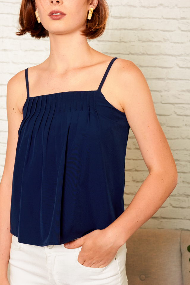 Londyn Pleated Crop Top in Navy