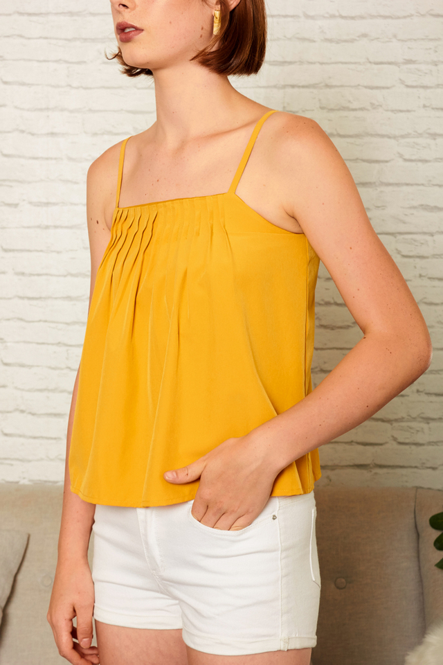 Londyn Pleated Crop Top in Mustard