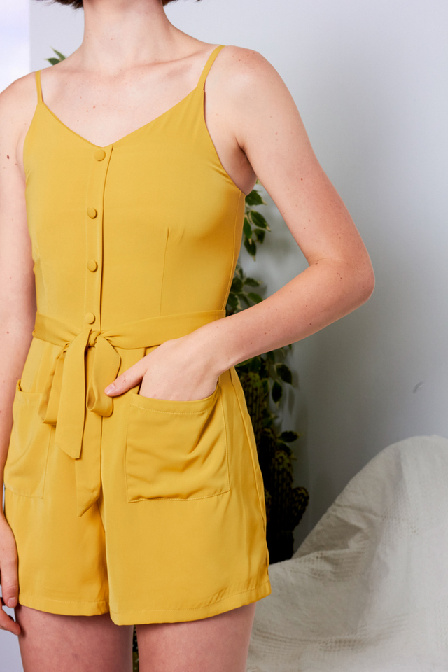 Nidia Button Down Pocket Romper in Dusty Mustard