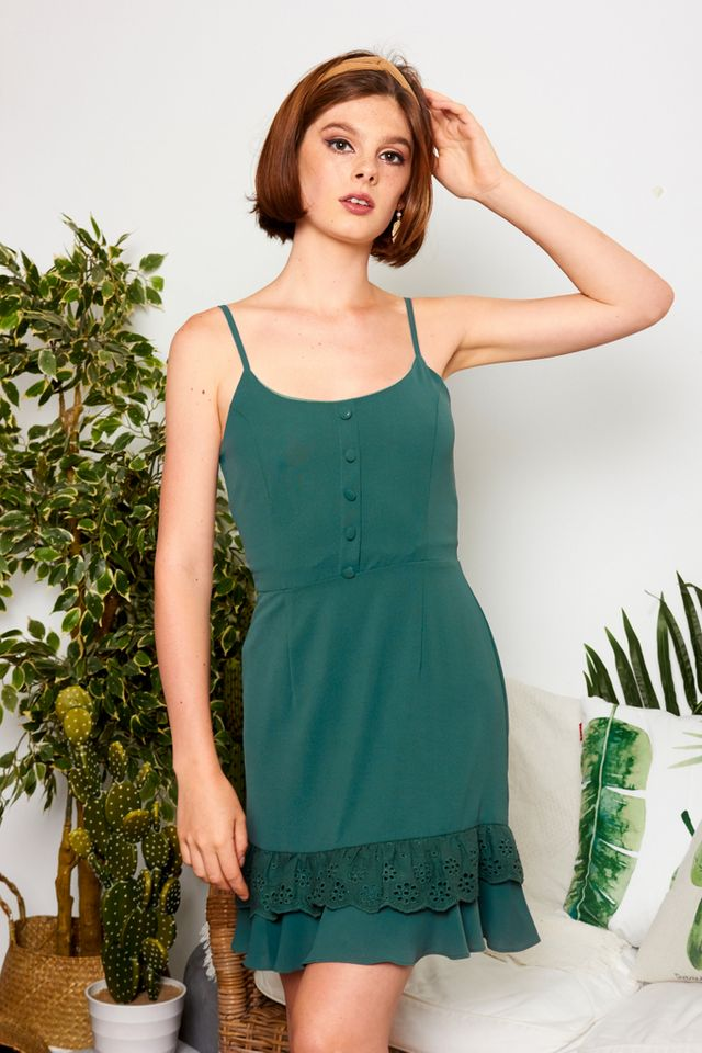 Shyril Button Eyelet Dress in Emerald
