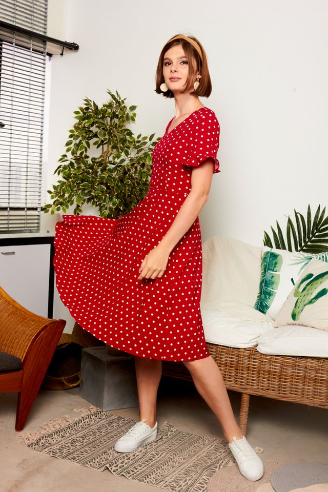 Sandrine Polka Dot Button Midi Dress in Red (XS)