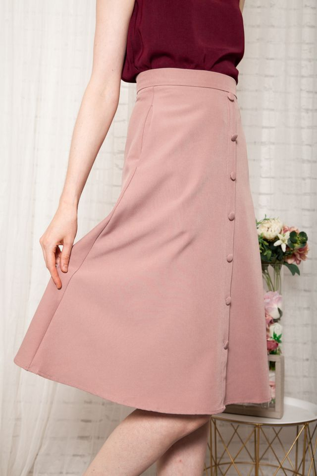 Odessa Button Down Midi Skirt in Dusty Pink