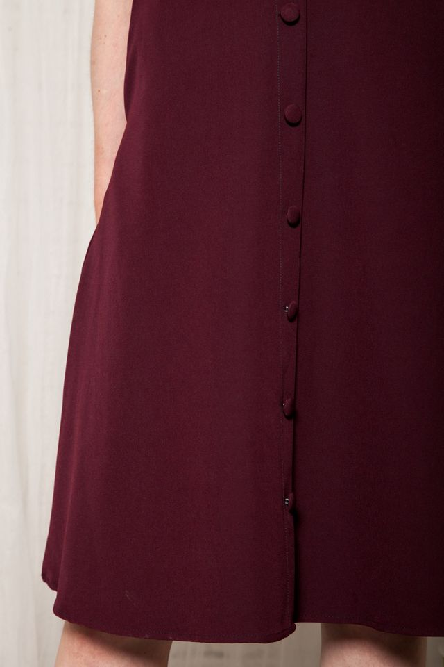 Odessa Button Down Midi Skirt in Burgundy (XS)