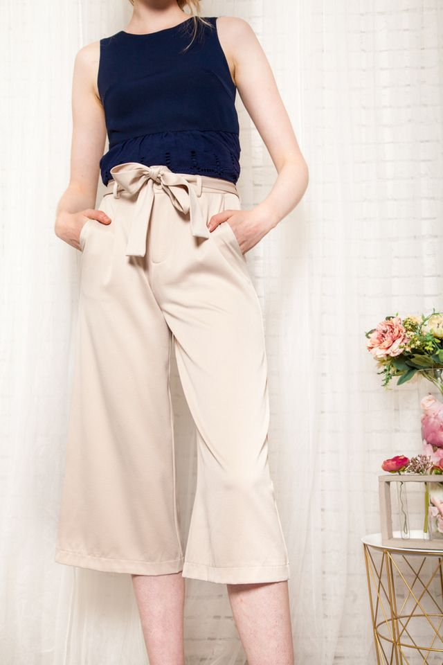 Gracelynn Satin Culottes in Cream (XL)