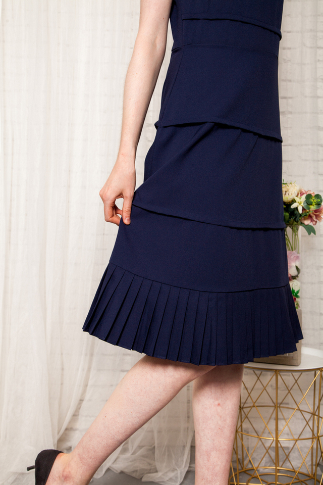 Jaslene Layered Pleated Dress in Navy