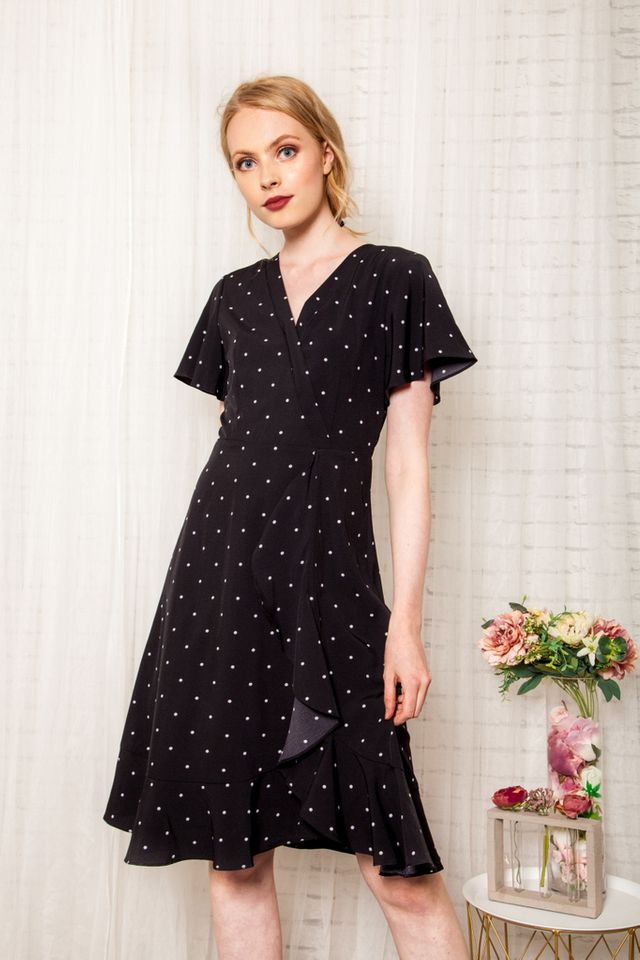 Cherie Faux Wrap Polka Dot Dress in Black (XS)