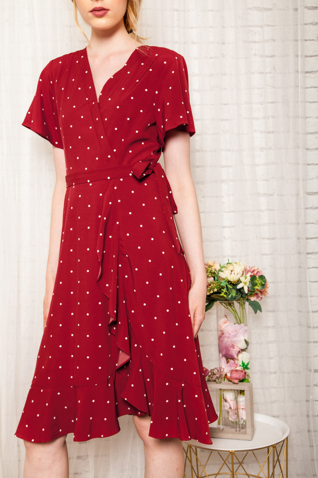 Cherie Faux Wrap Polka Dot Dress in Red (XS)