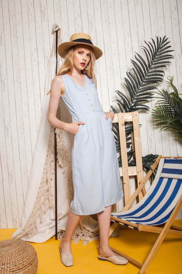 Dellen Button Down Jumpsuit in Powder Blue