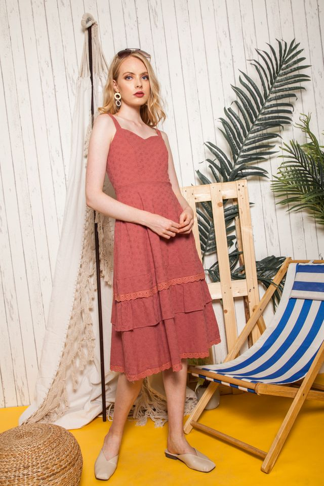 Marbella Eyelet Ruffles Midi Dress in Terracotta