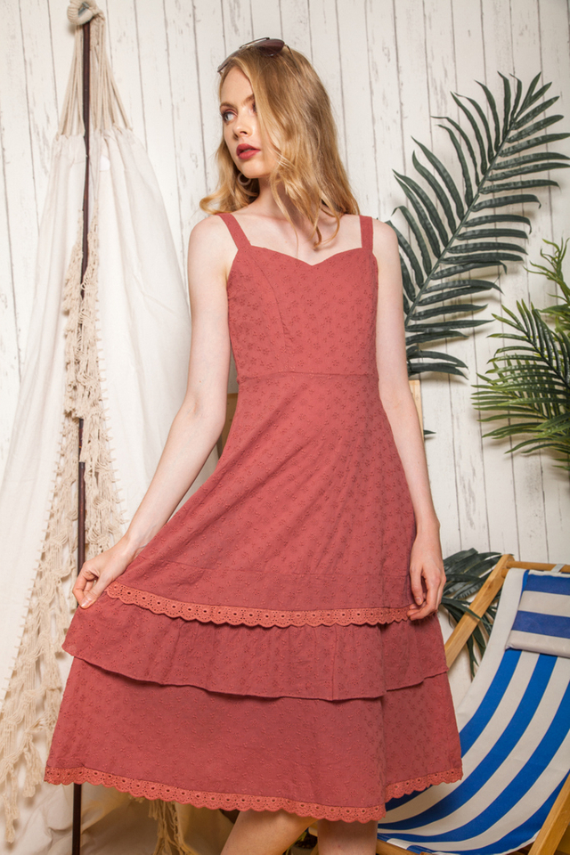 Marbella Eyelet Ruffles Midi Dress in Terracotta (L)