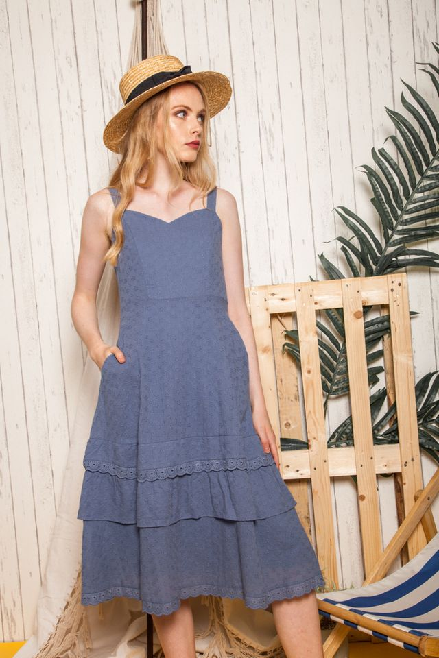 Marbella Eyelet Ruffles Midi Dress in Steel Blue (L)