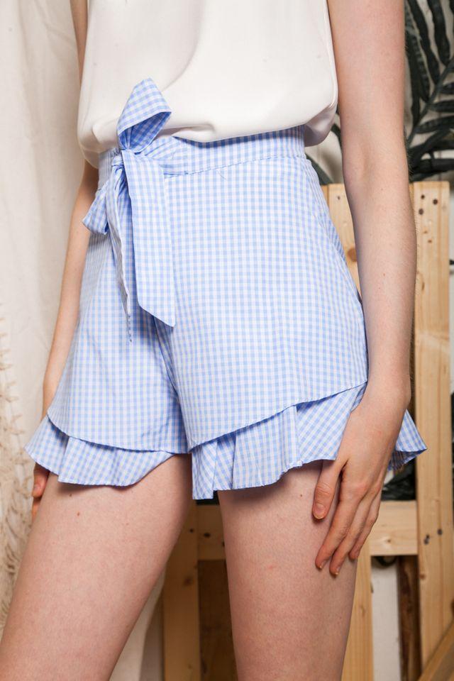 Lovanna Gingham Ruffled Shorts in Blue