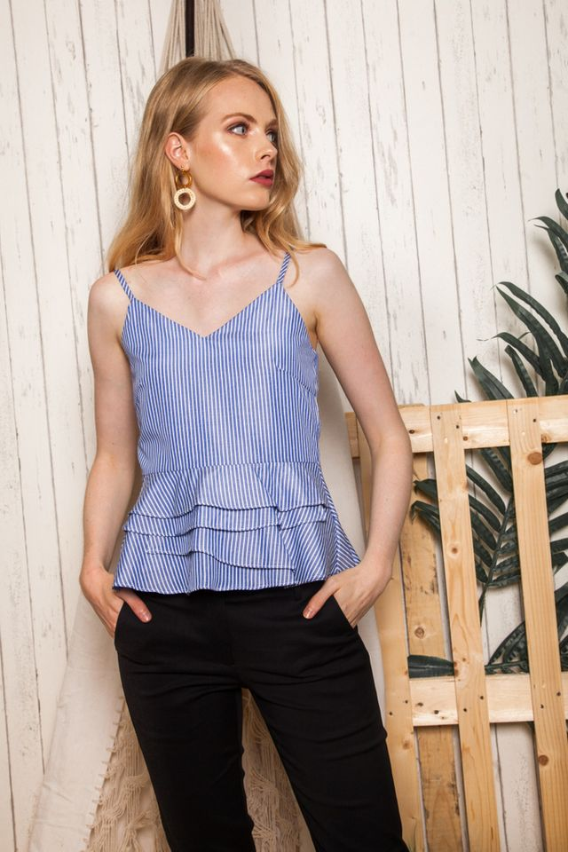 Olivi Striped Babydoll Top in Blue (L)