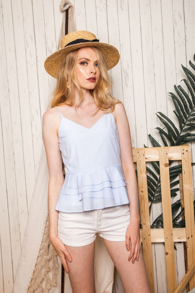 Olivi Striped Babydoll Top in White (L)