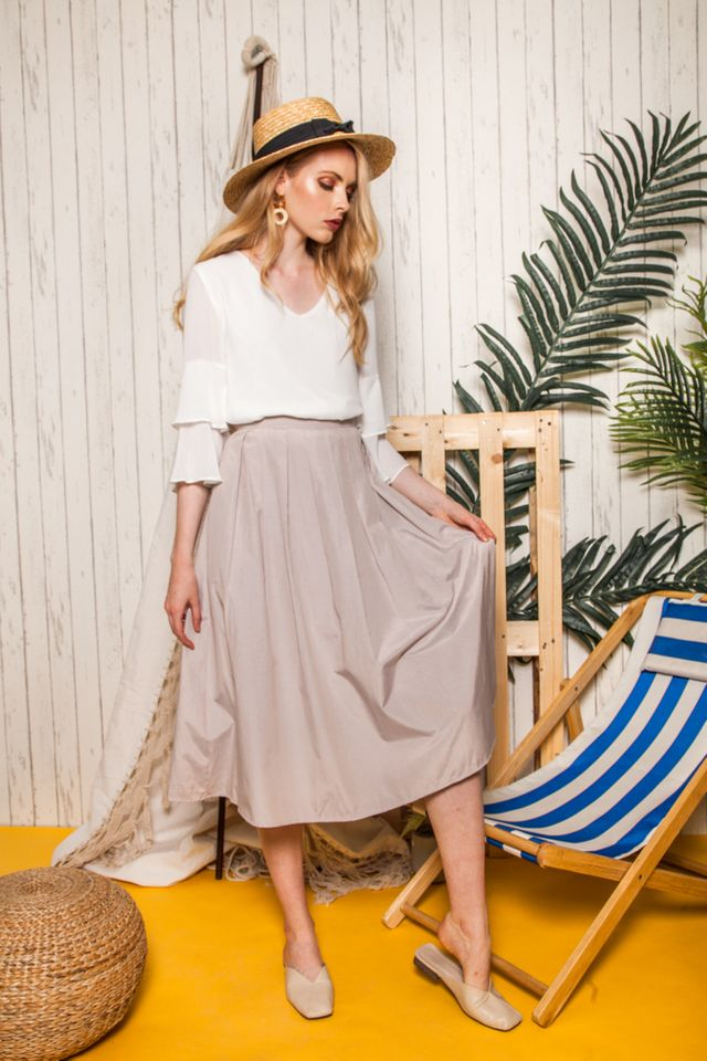 Pasha Dirndl Skirt in Light Khaki (XS)