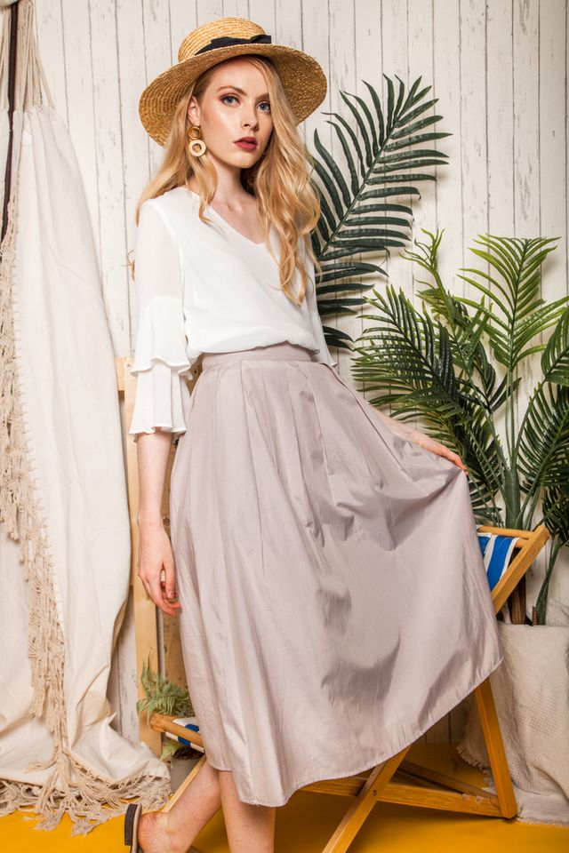 Pasha Dirndl Skirt in Light Khaki