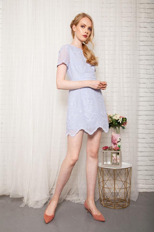 Eira Eyelet Sheath Dress in Periwinkle