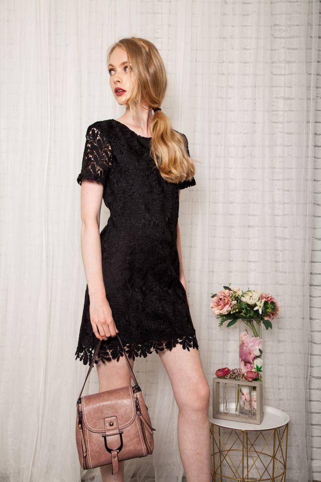 Poet Crochet Shift Dress in Black (XS)
