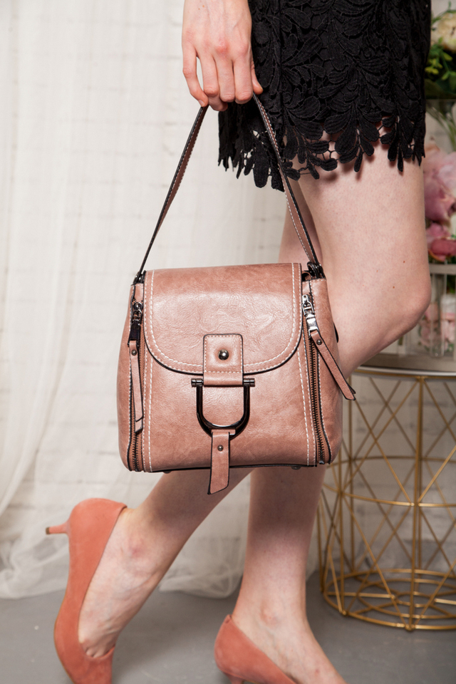 Mylie Satchel Bag in Dusty Rose