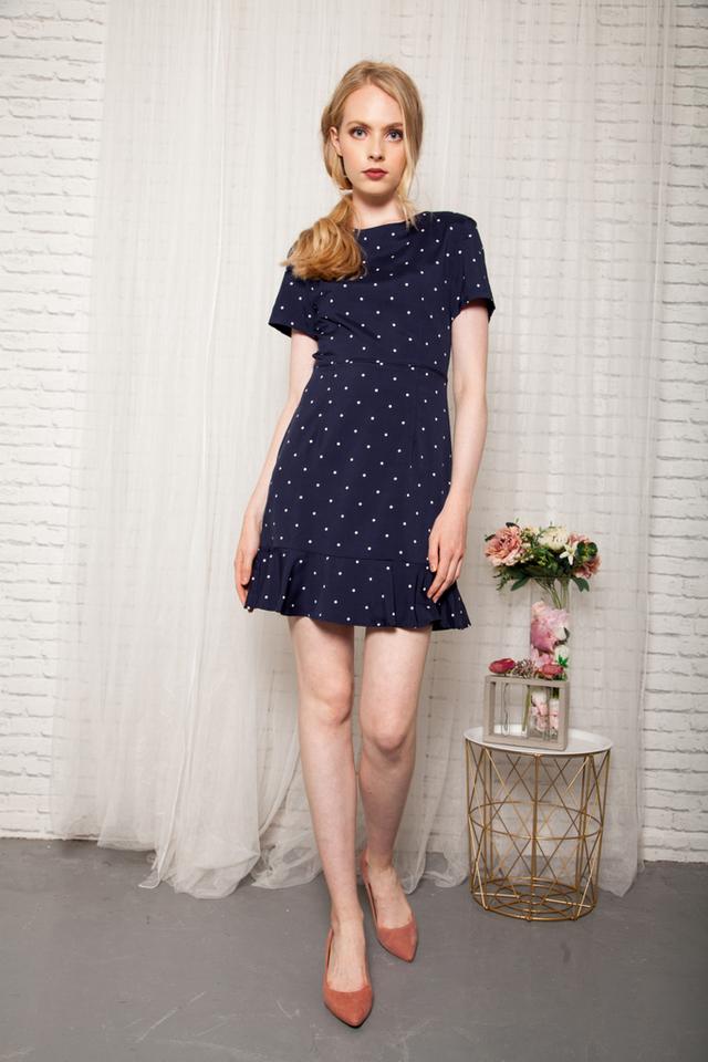 Jora Polka Dot Sheath Dress in Navy