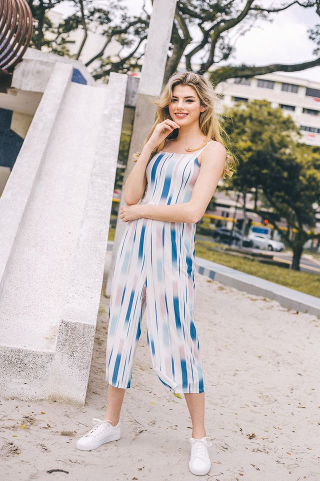 Sonatina Ombre Striped Jumpsuit in Blue