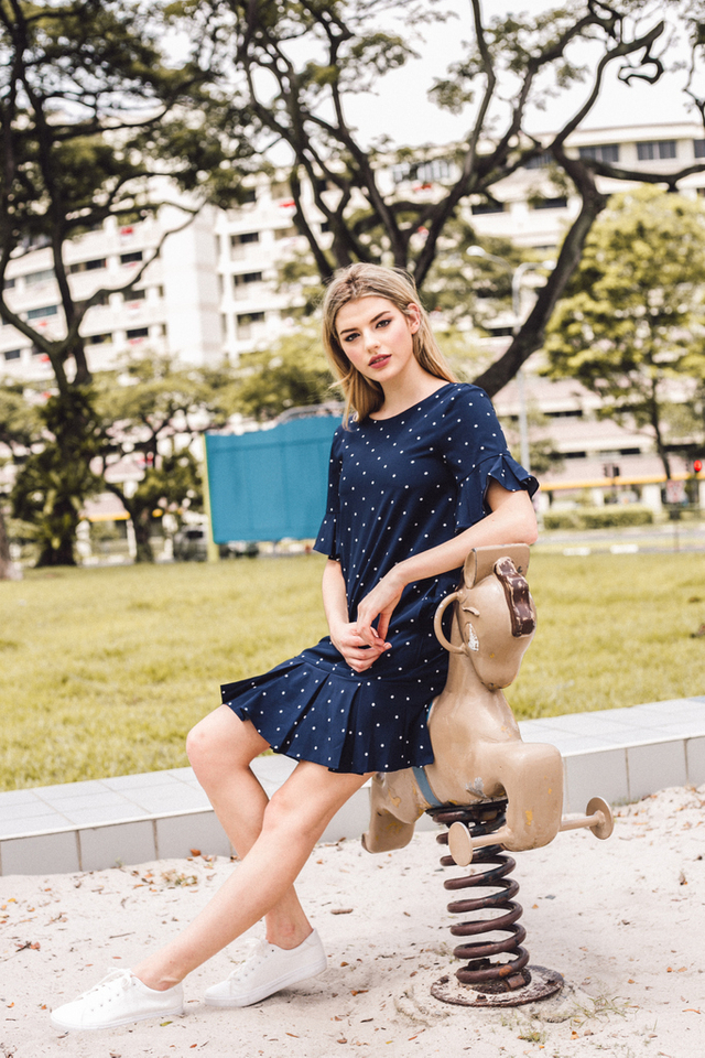 Sorrell Polka Dot Dropwaist Dress in Navy