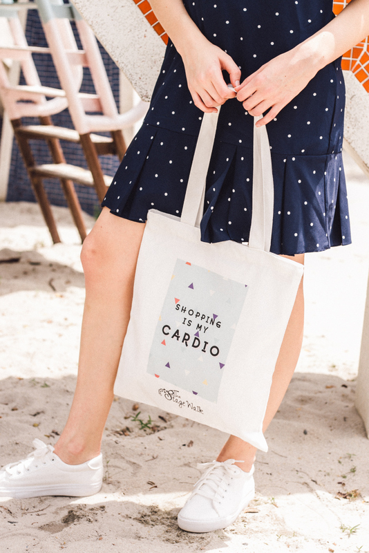 """Shopping is my cardio"" Tote Bag"