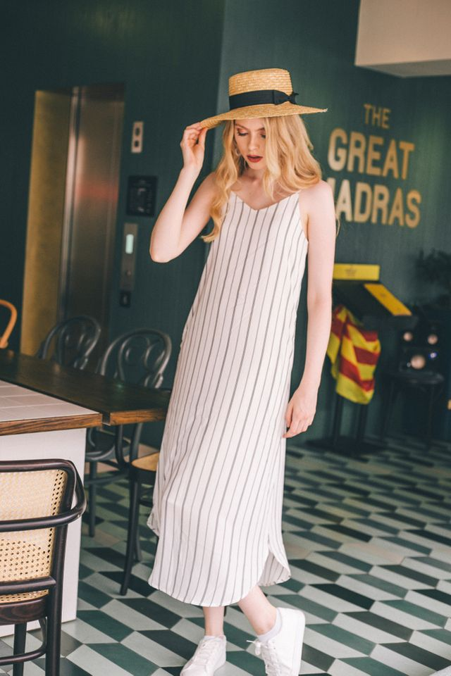 Ryein Pinstripe Slip Maxi Dress in White