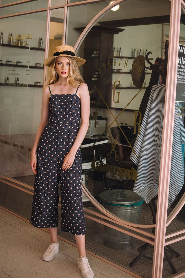 Kaylynn Polka Dot Jumpsuit in Navy (XS)