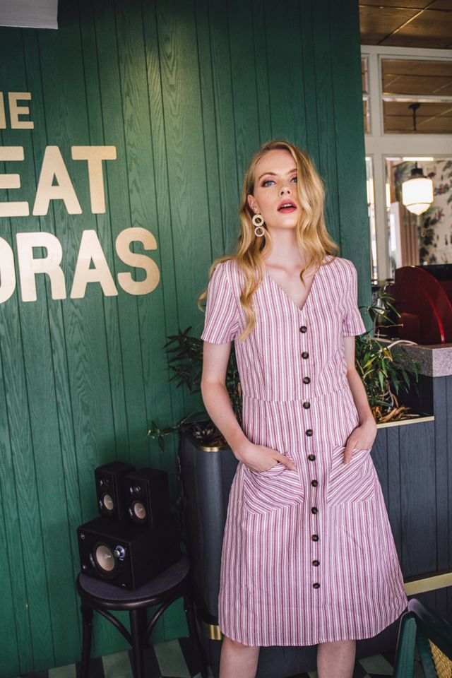 Aristeia Pinstripe Button Down Midi Dress in Dusty Rose