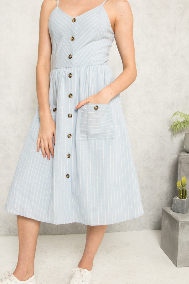 Aurelien Striped Button Midi Dress in Light Blue (L)