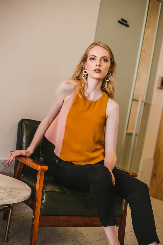 Benica Colourblock Flared Top in Mustard (L)
