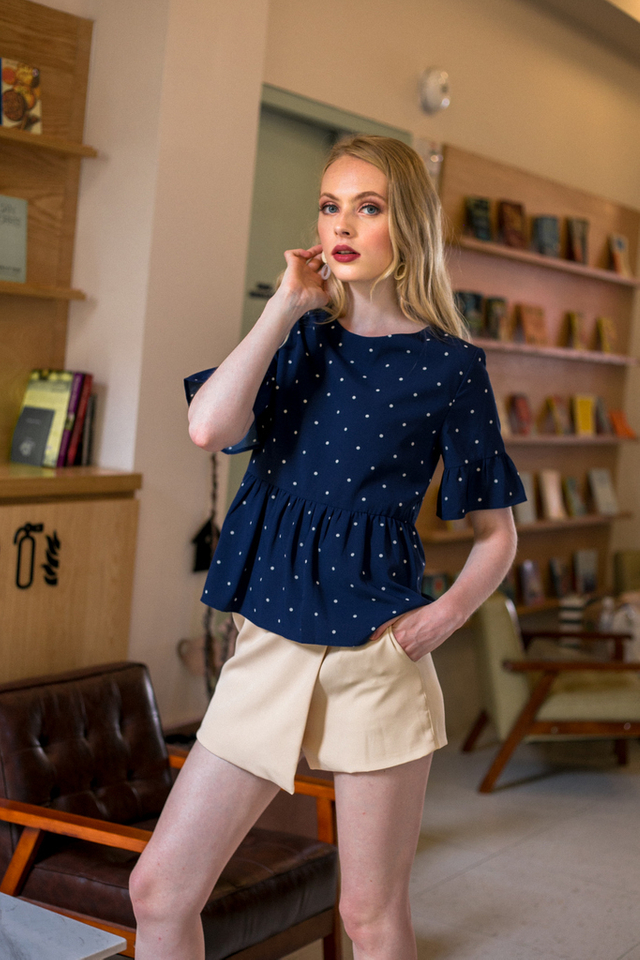 Ronia Polka Dot Babydoll Top in Navy