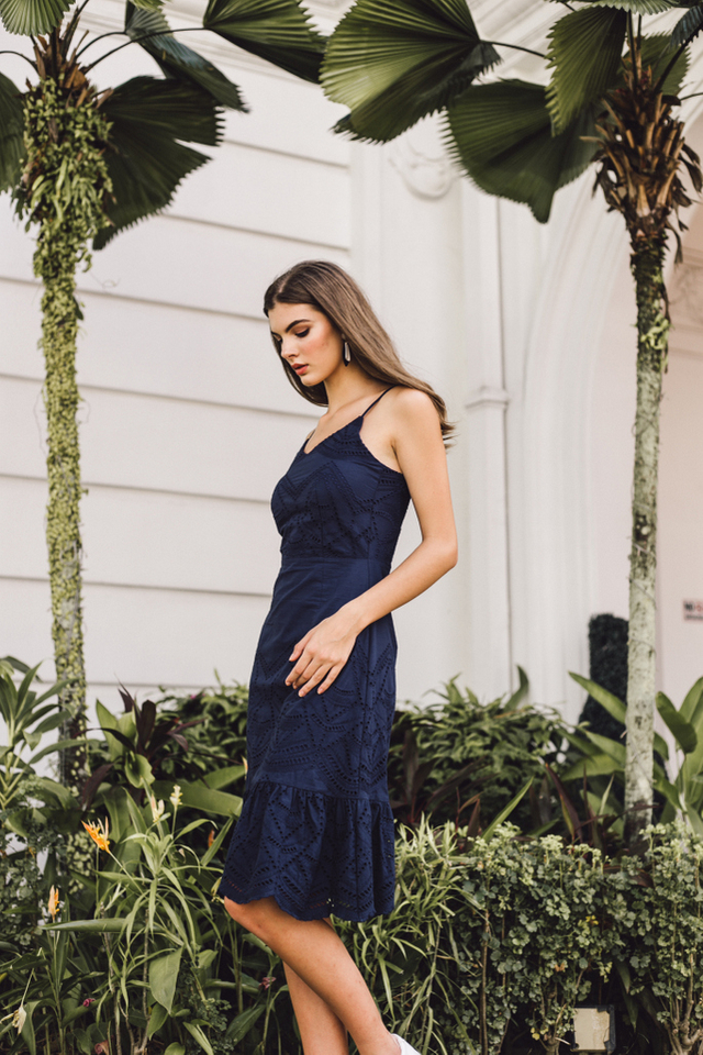 Mariella Eyelet Ruffles Midi Dress in Navy