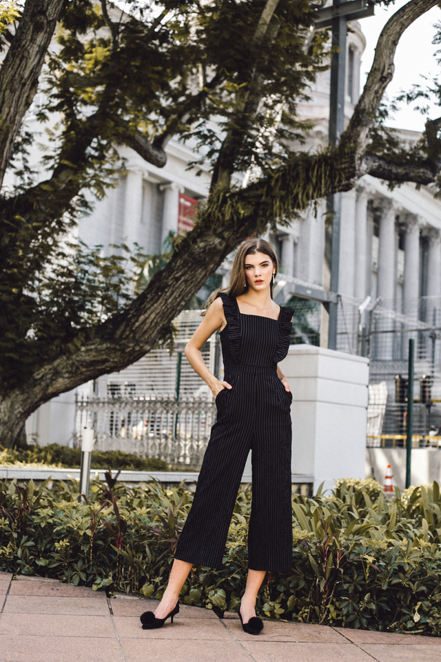 Arlenis Striped Ruffle Jumpsuit in Black