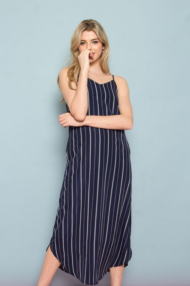Ryein Pinstripe Slip Maxi Dress in Navy (XS)