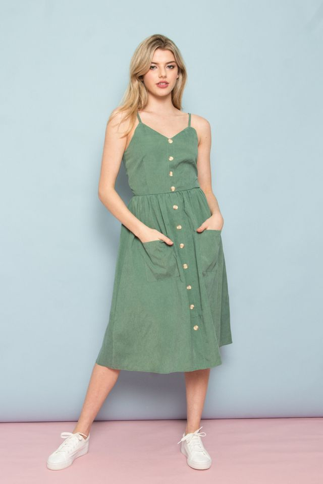Leandra Button-Down Midi Dress in Sea Green