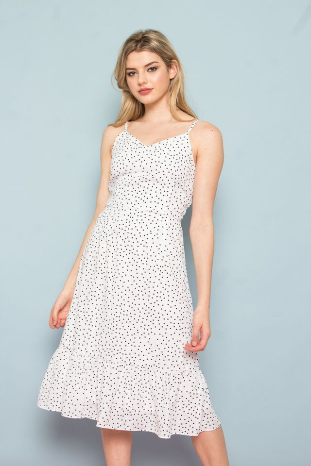 Bethia Polka Dot Dropwaist Dress in  White