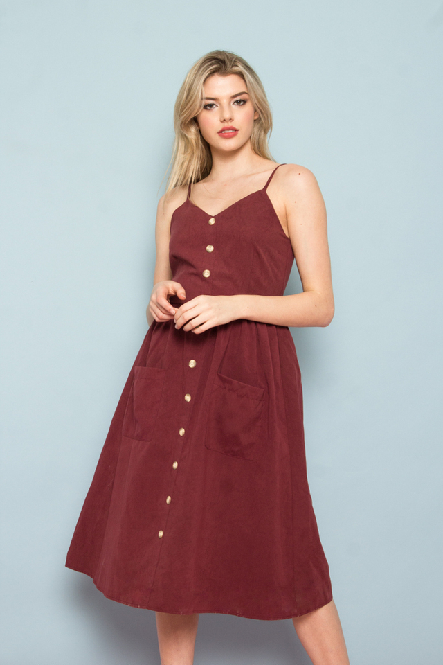 Leandra Button-Down Midi Dress in Wine Red